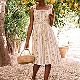 Gal Meets Glam Collection Arina Floral Stripe Tie Shoulder Sundress