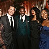 Molly Sims, Scott Stuber, Idris Elba, Sabrina Dhowre, and Isan Elba at the Golden Globes 2019