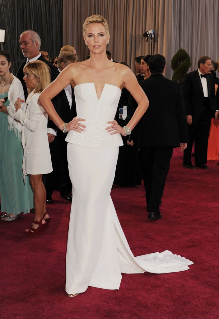Charlize Theron was not to be missed in a dramatic peplum Dior Haute Couture gown at the 2013 Oscars.