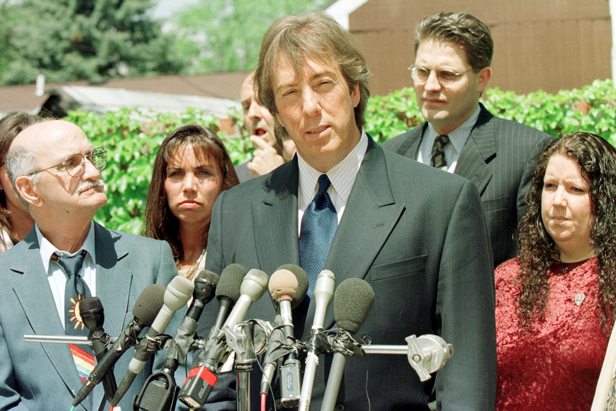 N 350770 003 May 7, 1999 Southfield, Michigan, Usa Attorney Geoffrey Fieger(R) Stands With Frank Amadure (L) And The Amadure Family At A Press Conference In Southfield, Mi.  (Photo By Bill Pugliano/Getty Images)