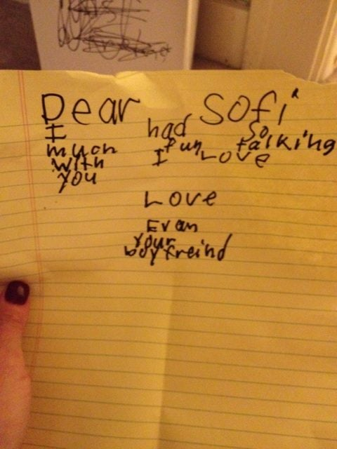 Jenny McCarthy found a love note in son Evan's drawer. Source: Twitter user JennyMcCarthy