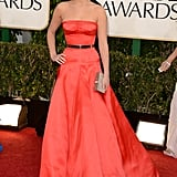 Jennifer Lawrence wore a Christian Dior Haute Couture gown to the Golden Globes.