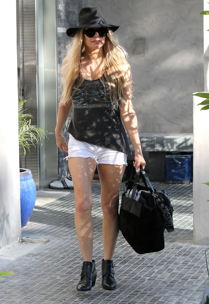 Fergie showed off her legs in LA on Sunday.