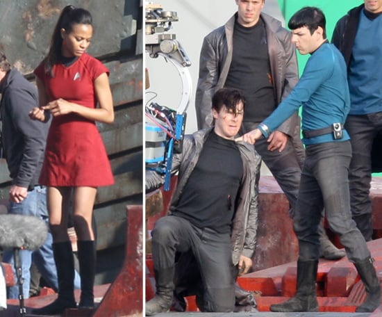 Zoe Saldana and Zachary Quinto Go Into Battle Shooting Star Trek Sequel