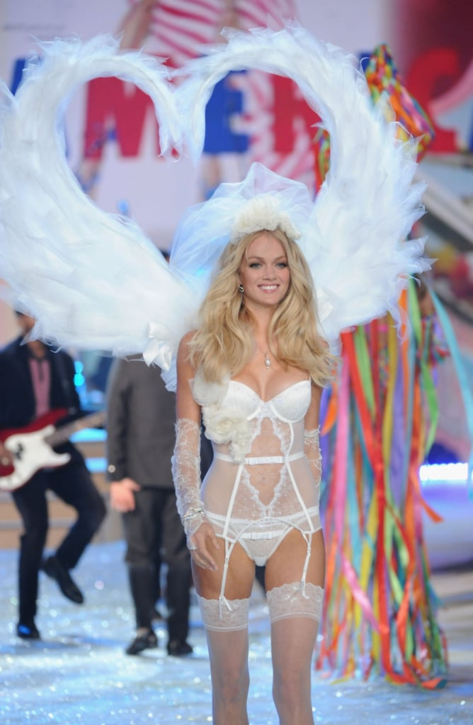Lindsay Ellingson wore white on the Victoria's Secret Fashion Show runway.