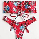 Shein Calico Print Bandeau Bikini Set