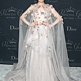 Wearing a floral Monique Lhuillier gown at the 2017 Princess Grace Awards Gala.