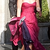 Princess Beatrice wore a strapless pink gown.