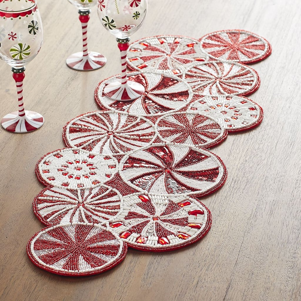 Beau Peppermint Candy Cane Beaded Table Runner ($80)