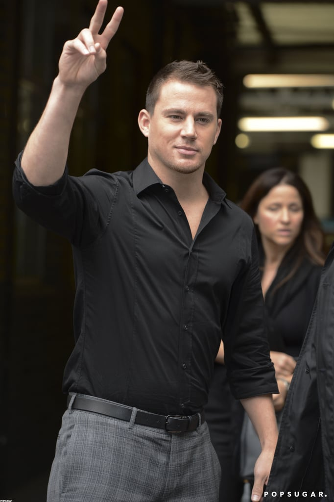 Channing Tatum gave a peace sign today as he headed into ITV Studios in London to record a spot for the show This Morning. He's in England at the moment after spending a recent few days in Las Vegas with wife Jenna Dewan to see a UFC match. Channing's chatting up Magic Mike before the movie arrives in UK theaters tomorrow, and he'll hit the red carpet for the European premiere tonight. The picture debuted with a splash at home in the US — Magic Mike opened at number two during the last weekend in June, taking in an impressive almost $40 million. Channing's being recognized for his offscreen work, too. He's in the running for a Do Something Award in the male movie star category thanks to his philanthropic work to raise money to combat brain cancer. The show airs Aug. 21, 2012 on VH1.