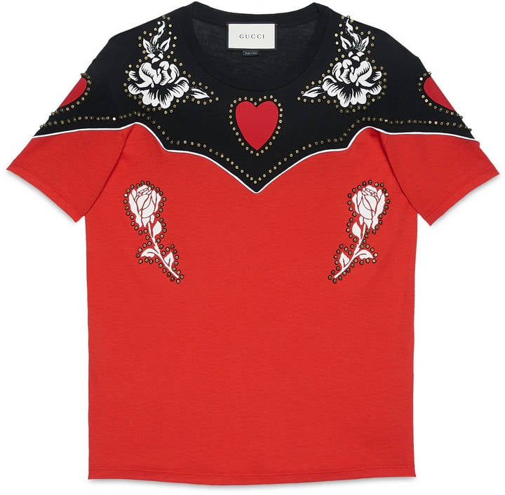 adb8e73af Gucci Flower Print Cotton T-Shirt ($990) | Western Trend Shopping ...