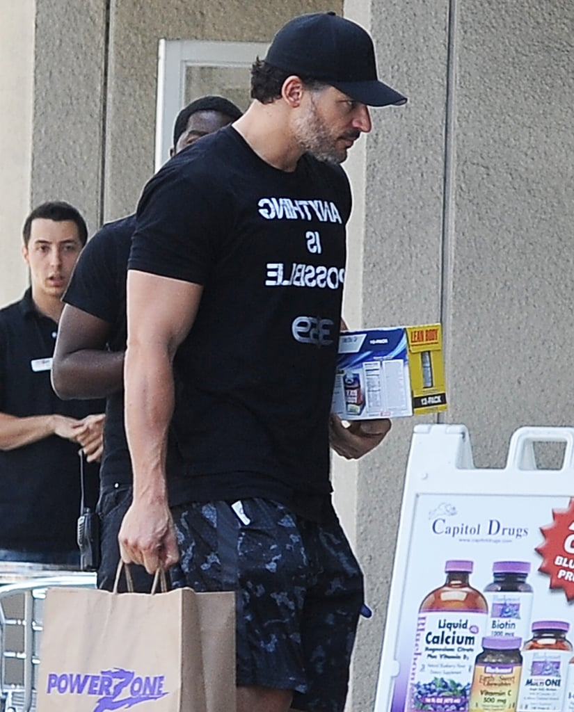 Joe Manganiello displayed his bulging biceps as he toted new purchases in LA on Friday.
