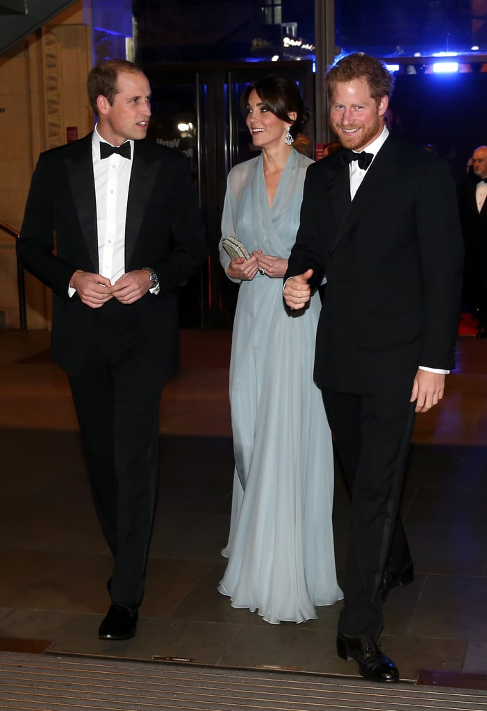 Kate Middleton and Prince William were joined by Prince Harry for the world premiere of the new James Bond film, Spectre, at the Royal Albert Hall in London on Monday. Kate chose a stunning chiffon gown from favorite designer Jenny Packham, while William and Harry were perfectly regal in their tuxedos. The royal screening is part of the Cinema and Television Benevolent Fund's Royal Film Performance and is just the latest in a string of events for the trio, who were together earlier in the day for a fun appearance at the British Academy of Film and Television Arts' London headquarters.  Kate and William have kept a busy calendar over the past few weeks and recently returned from a quick trip to Scotland, where they visited their old college stomping grounds, St Andrews, and took the wheel of a vessel at the Royal Research Ship Discovery at Discovery Point.