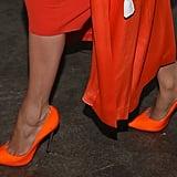 Jennifer Lopez's Orange Dress and Heels on Despierta America