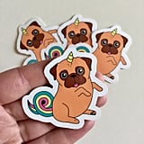 Unicorn Pug Stickers ($1)