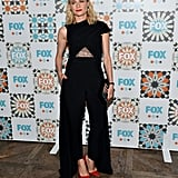 She showed a little skin at the Fox All-Star party wearing a black Marios Schwab jumpsuit that featured a little lace panel.
