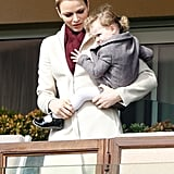 Princess Gabriella Snuggles Up to Mom Charlene During a Rugby Game in Monaco