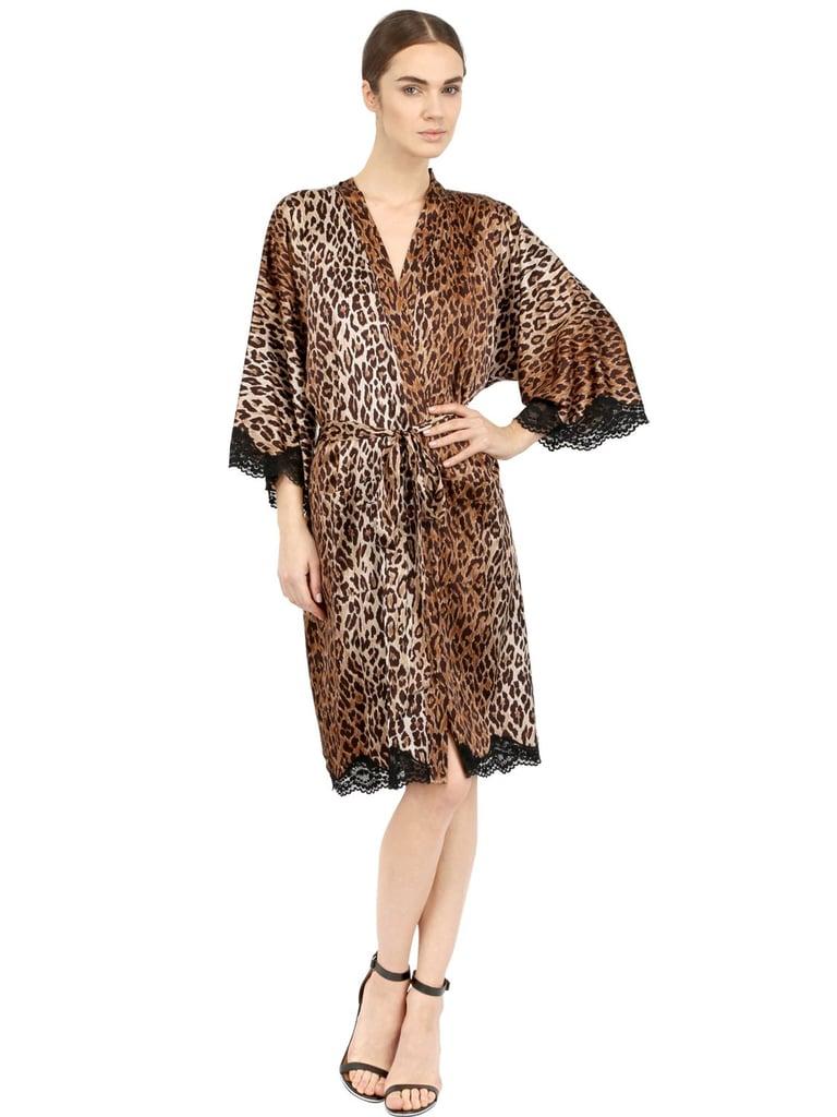 Dolce & Gabbana Leopard Satin Robe | Kim Kardashian Robe Dress at ...