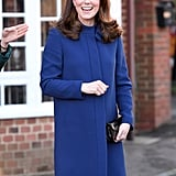 When Kate wore this royal blue coat by the British label Goat, it perfectly matched her iconic sapphire engagement ring.