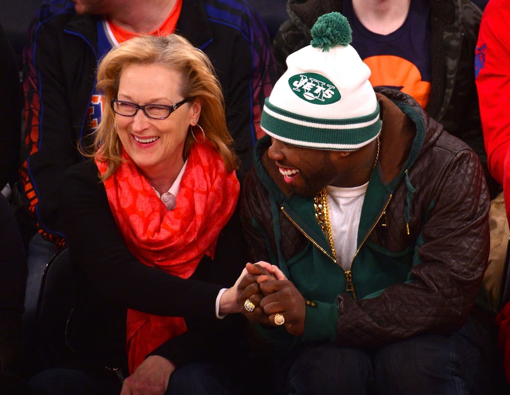 """While everyone else was paying attention to the Grammy Awards, Meryl Streep and rapper 50 Cent got in bonding time on Sunday when they sat together in courtside seats at the Knicks vs. Lakers game in NYC. 50 Cent was more than a little excited to be sitting next to an acting legend as he posted pictures from the pair's encounter throughout the night. At one point, 50 Cent, Meryl and Kobe Bryant posed for a """"gangsta"""" snap together. """"Things got a little gangsta,"""" 50 Cent wrote. """"Turn up, turn down for what!?"""" Later, 50 Cent wrote, """"Man I got a good life man,"""" next to a photo of him and Meryl. Who knew Fiddy was such a Meryl fanboy? While Meryl was kickin' it with Curtis, her August: Osage County co-star Julia Roberts was making waves at the Grammys, where she popped up for a surprise appearance. Julia acted as a presenter for Paul McCartney, whom she got to hang out with backstage. See, Meryl, you aren't the only one having fun hangouts with celebrities! Source: Getty"""