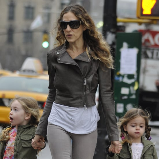 Sarah Jessica Parker Wearing Cropped Leather Jacket