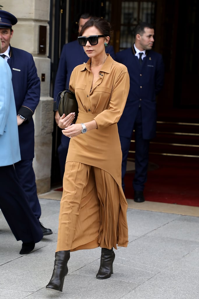 Victoria Beckham Wore Her Pleated Dress Out in Paris