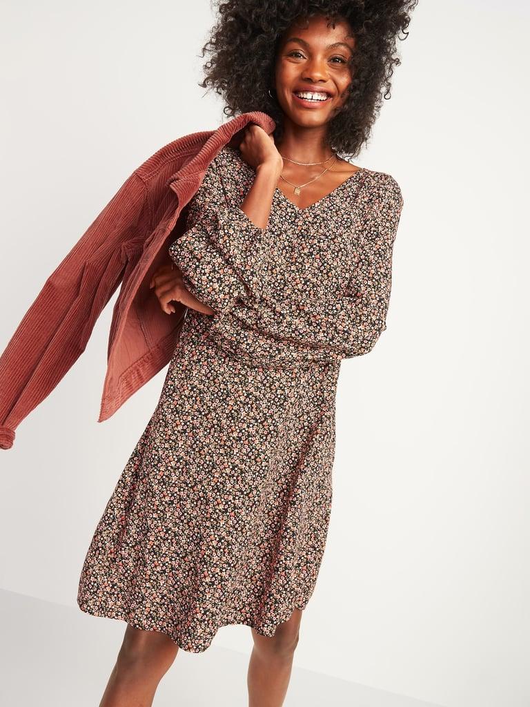 Floral-Print Fit & Flare Smocked-Back Dress