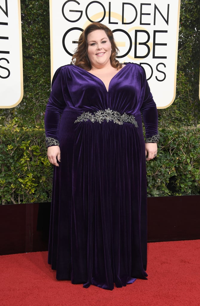 Chrissy Metz in a velvet embroidered dress by Nathaniel Paul in 2017.