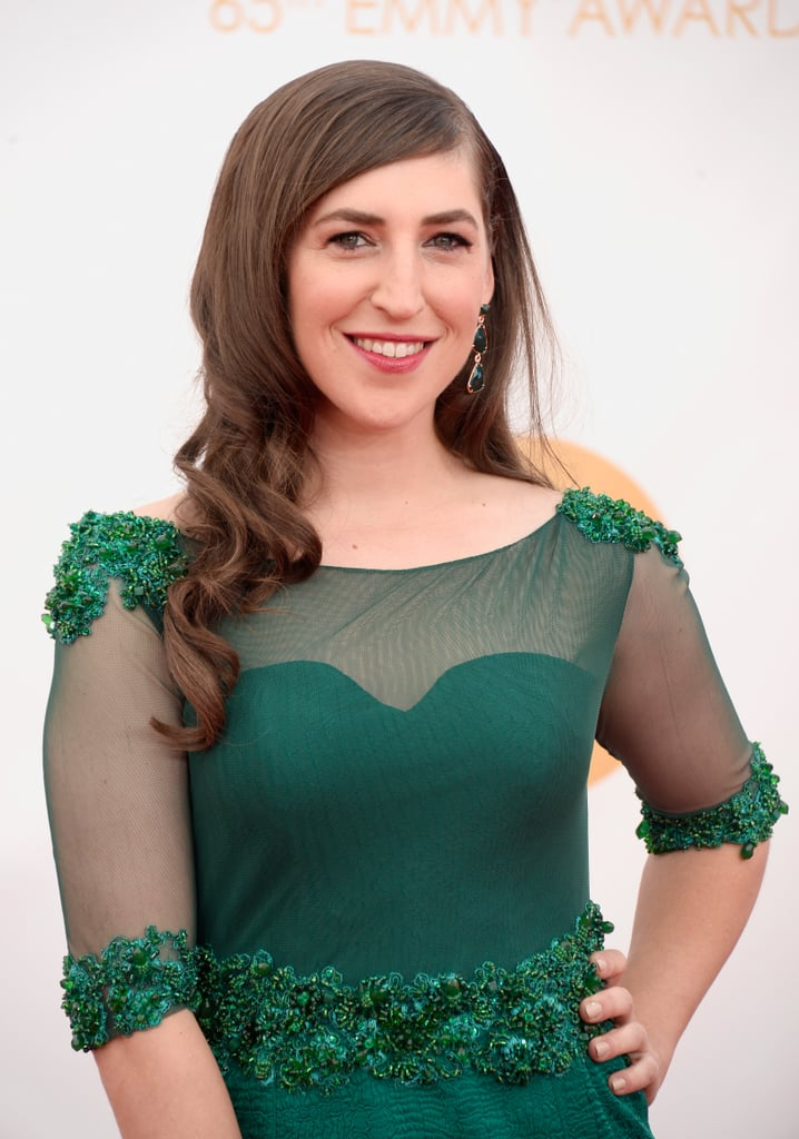 Emerald was Mayim Bialik's colour for the night, but she chose to accent the bold shade with a brick-red lip gloss and side-swept curls.