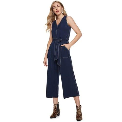 Nine West Petite Contrast-Stitch Sleeveless Jumpsuit