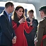 Kate Middleton Red Carolina Herrera Coat February 2019