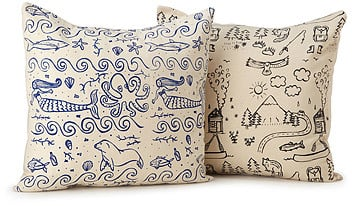 Illustrated Land and Sea Pillows ($38)