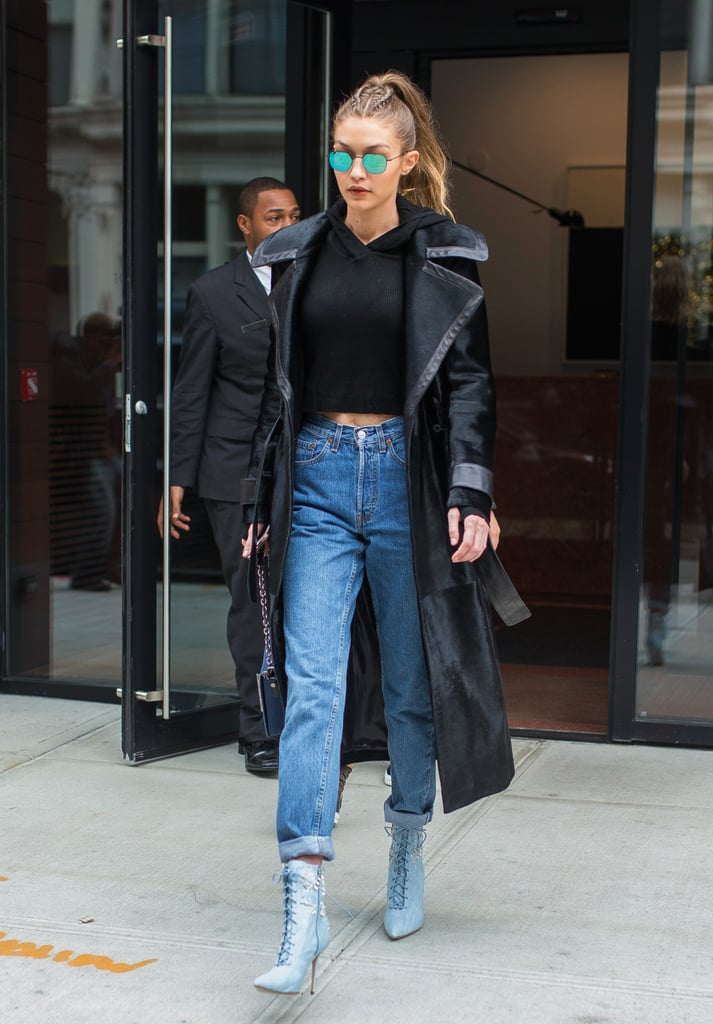 Gigi Hadid Wearing Rihanna's Manolo Blahnik Shoes NYC 2016