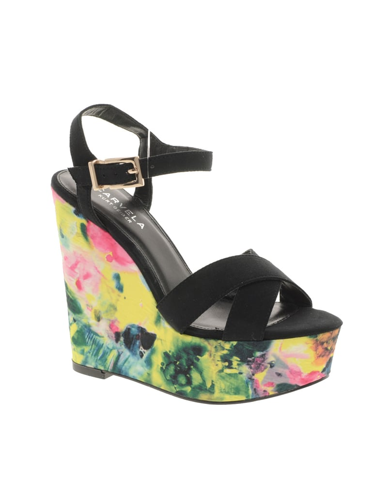 We love the cool watercolor-feeling florals contrasted with bold black straps.  Carvela Katwalk Floral Print Wedges ($180)