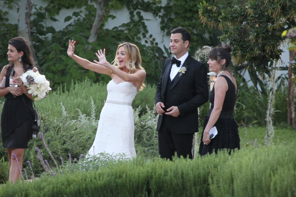 Jimmy Kimmel's new wife Molly McNearney waved to friends and family while he watched on during their wedding reception in Ojai, California on July 13.