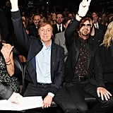 Paul McCartney and Ringo Starr threw up peace signs.
