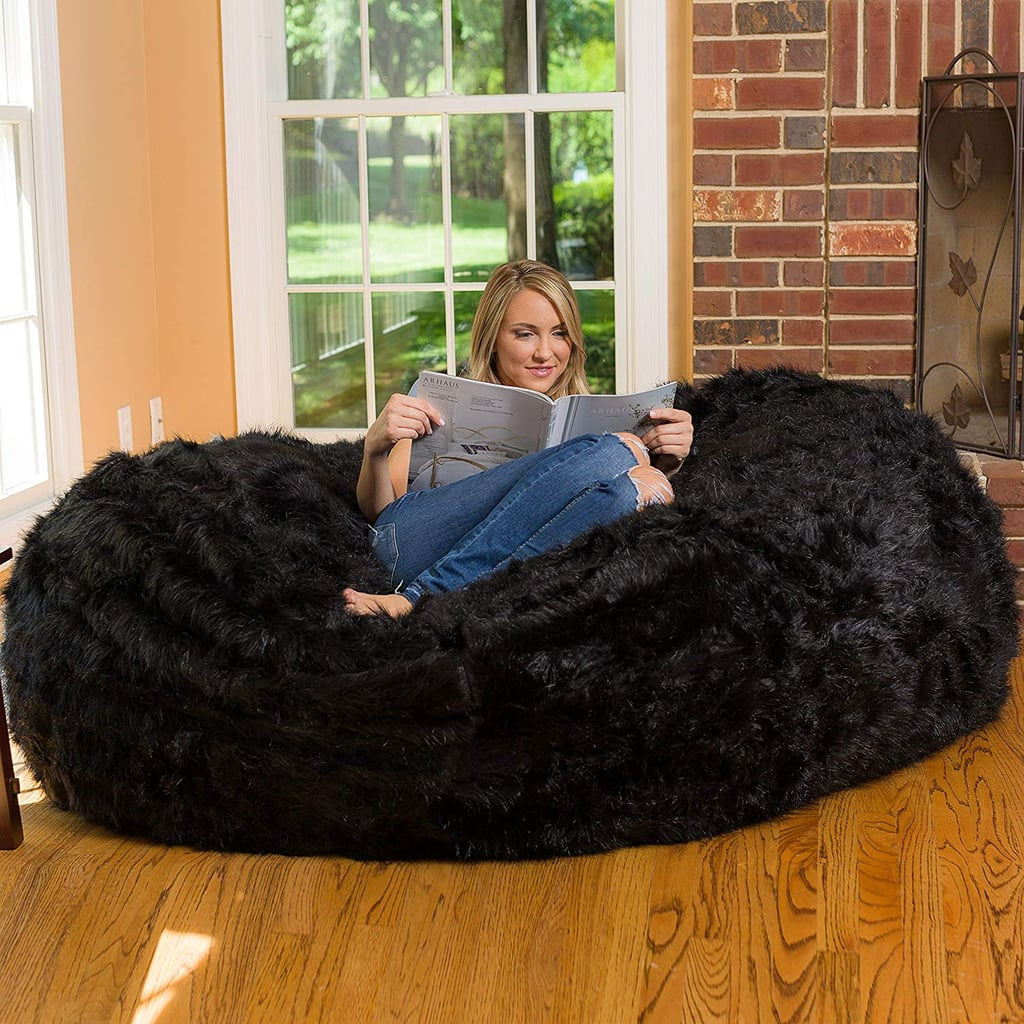 Buy the Comfy Sacks Fuzzy Bean Bag in Black