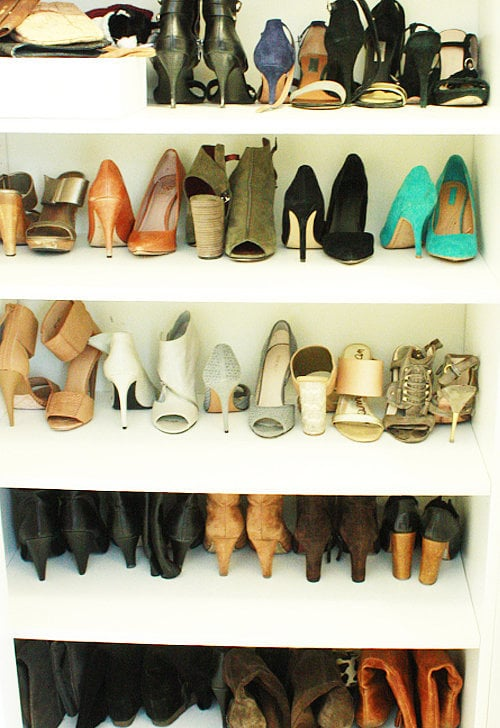 "The shoes were reorganized and spaced out now that I made room on those shelves. Love. That.  I know what you're thinking: ""It kind of looks the same!"" Well, I didn't take too many close-ups, but you're about to see where the major change happened."