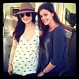 Lucy Hale wore a cute tank and oversize hat while posing with a friend. Source: Instagram user lucyhale89