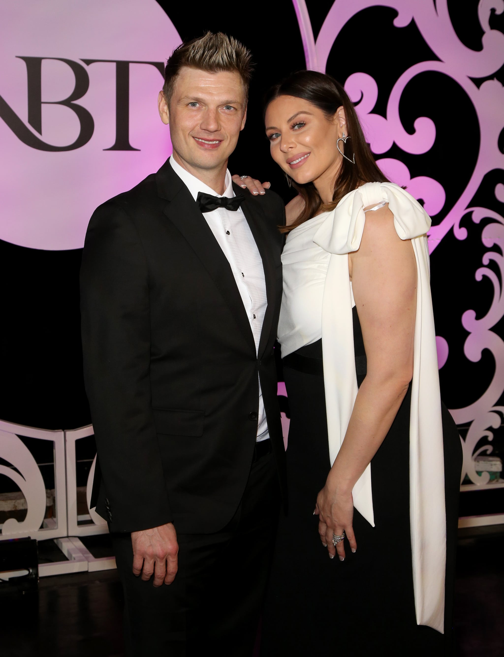 LAS VEGAS, NEVADA - JANUARY 25:  Singer Nick Carter (L) of Backstreet Boys and his wife Lauren Carter attend the 36th annual Black and White Ball honoring Nevada Ballet Theatre's 2020 Woman of the Year event at Caesars Palace on January 25, 2020 in Las Vegas, Nevada. (Photo by Gabe Ginsberg/Getty Images)