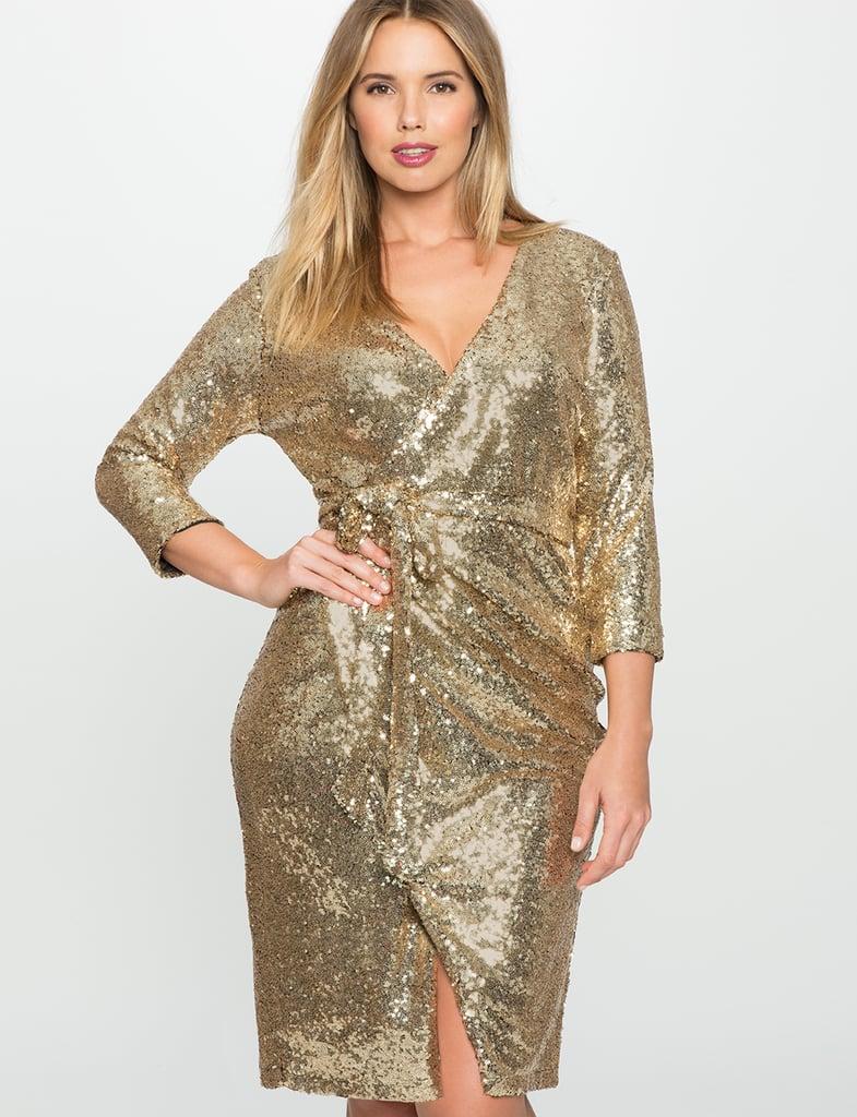 Eloquii Studio Sequin Wrap Dress ($155)