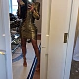 Kim Kardashian Gold Balmain Dress at Pusha T's Wedding