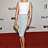 Ali Larter was ultrasophisticated in a Sportmax white-and-blue silk jersey sheath dress and posh pumps.