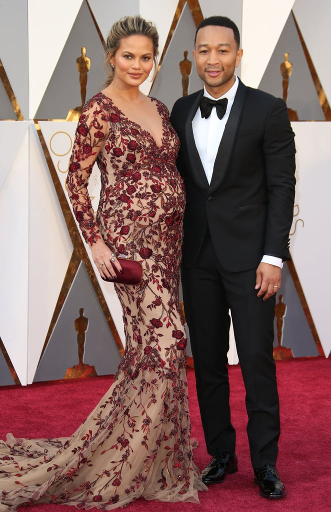 Chrissy's Oscars look was a Fall '16 Marchesa dress that she plucked straight off the runway. After tweaking the design's plunging neckline and rose-appliquéd train, Chrissy was ready to go, accessorizing with a Swarovski clutch and Lorraine Schwartz jewels.