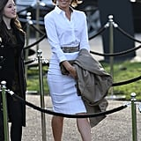 Kate Beckinsale wore all white when she arrived at the Burberry Prorsum fashion show on Monday.