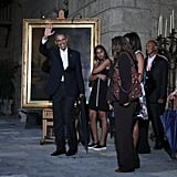 The group made a pit stop in front of a painting of Abraham Lincoln in the Museum of the City of Havana.