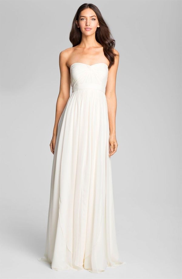 Jenny Yoo's sweetheart neckline chiffon gown ($850) is a great clean palette to accessorize away.