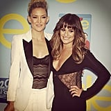 Kate Hudson and Lea Michele were all smiles at the Glee season four premiere. Source: Instagram user msleamichele