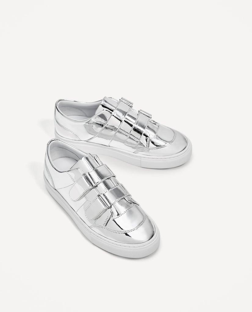 270a84515be Zara Silver Metallic Plimsolls | Cute Cheap Sneakers | POPSUGAR ...