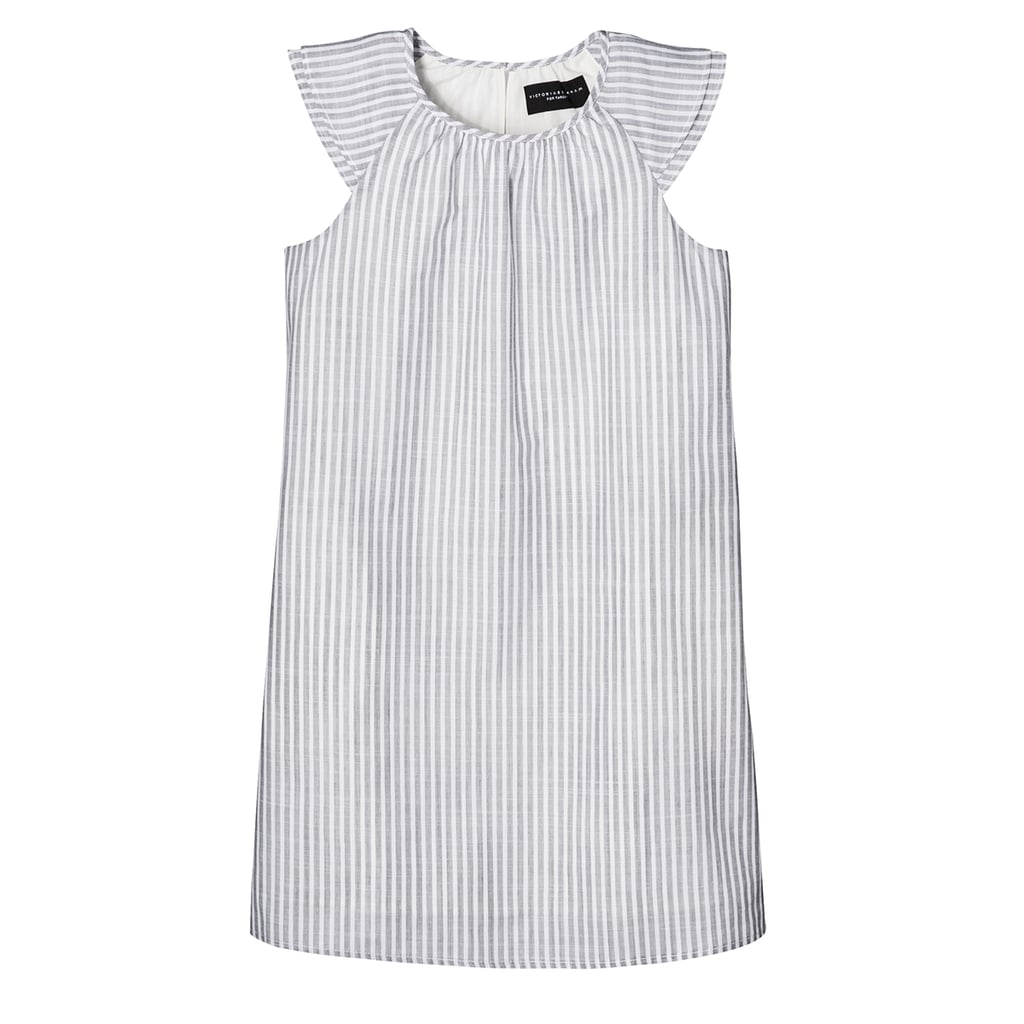 Girls' Grey Stripe Cap Sleeve Peasant Dress ($23)